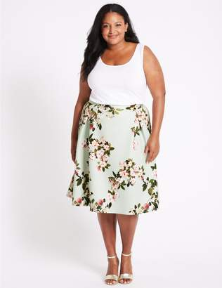 Marks and Spencer CURVE Floral Print Scuba A-Line Midi Skirt