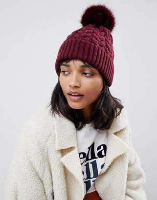 bf743d3ed Asos Design DESIGN cable faux fur pom beanie In recycled polyester