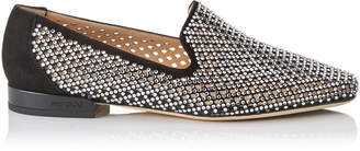 Jimmy Choo JAIDA FLAT Black Diamond Perforated Suede Square Toe Slippers with Crystal Hotfix