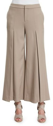 Ralph Lauren Collection Beatriz Wide-Leg Cropped Pants, Taupe $990 thestylecure.com