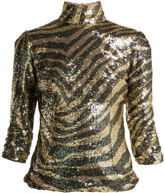 Dolce & Gabbana Sequin zebra-pattern high-neck top