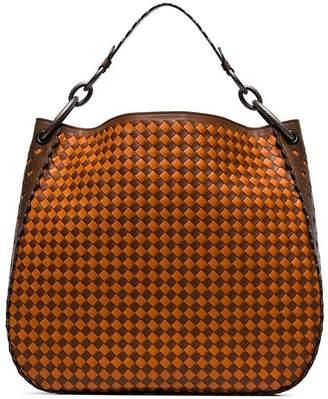 Bottega Veneta orange and brown woven leather tote bag
