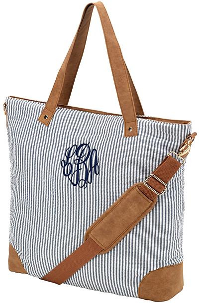 Navy Seersucker Monogram Shoulder Bag