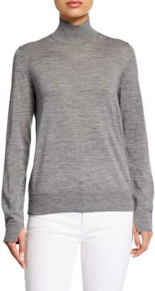 Lafayette 148 New York Fine Gauge Merino Wool Split Stand-Collar Sweater