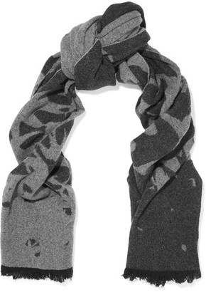 McQ Alexander McQueen - Swallow Intarsia Wool-blend Scarf - Dark gray $220 thestylecure.com