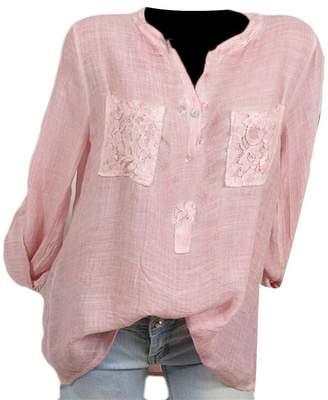 MOUTEN Women's Cotton Linen Long Sleeve Solid Button up Plus Size T-Shirt Top Blouse L