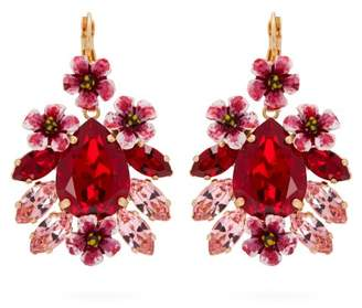 Dolce & Gabbana Floral Crystal Embellished Drop Earrings - Womens - Red