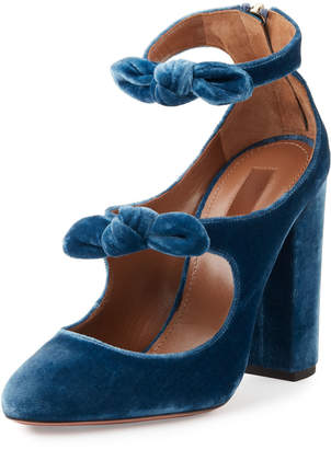 Aquazzura Sandy Velvet Mary Jane Pump