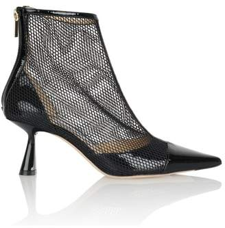 Jimmy Choo Kix 65Mm Patent Mesh-Panelled Point-Toe Boots