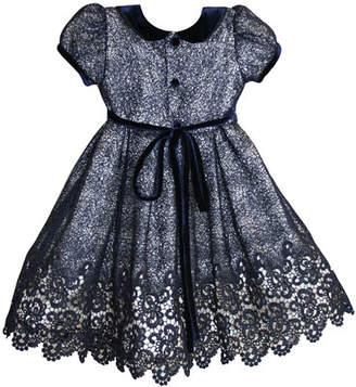 Isabel Garreton Floral Mesh Lace Velvet-Trim Dress, Size 12-24 Months