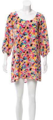 Tibi Silk Floral Print Dress