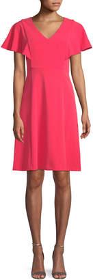 Iconic American Designer Flutter-Sleeve Fit & Flare Crepe Dress