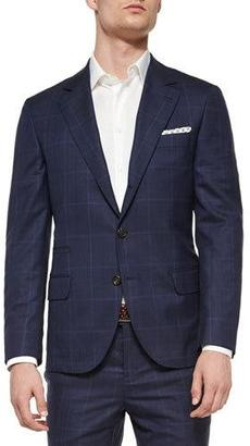 Brunello Cucinelli Plaid/Windowpane Two-Piece Wool Suit, Navy $4,125 thestylecure.com