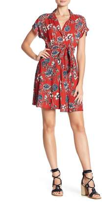 Angie Crochet Back Front Button Floral Print Dress