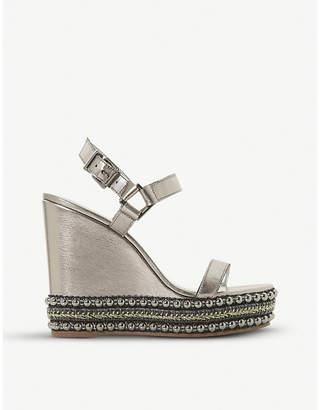 Dune Kibble studded metallic-leather wedge sandals