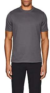 Giorgio Armani Men's Textured-Stripe Cotton T-Shirt - Gray