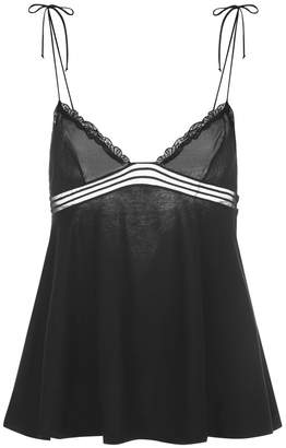 La Perla Garnet Black Modal Pyjama Top With Soutache And Floral Embroidery