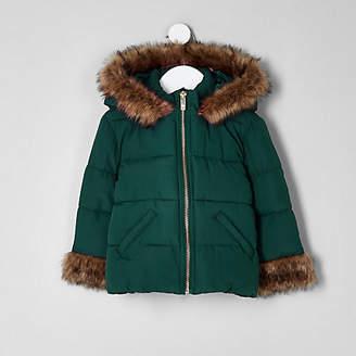 River Island Mini girls green faux fur padded coat