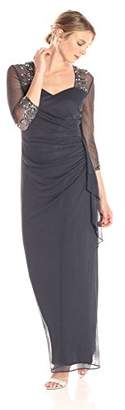 Alex Evenings Women's Long Dress with Beaded Illusion Neckline