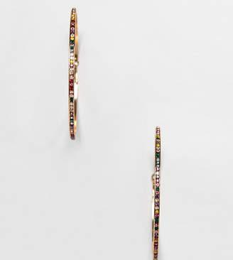 Aldo multi colored rhinestone hoops earrings