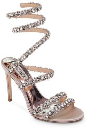 Badgley Mischka Women's Peace Embellished Satin Ankle Wrap High-Heel Sandals