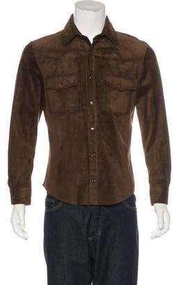 Tom Ford Suede Snap-Front Shirt