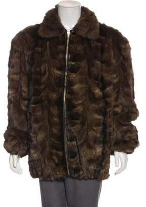 Leather-Trimmed Fur Jacket