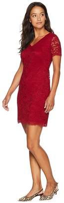 Lauren Ralph Lauren Petite Panel Lace Gordy Short Sleeve Day Dress