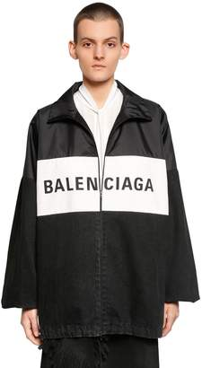 Balenciaga Logo Patchwork Nylon & Denim Jacket