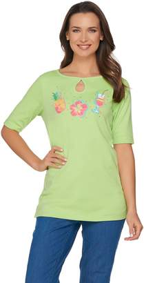 The Endless Summer Quacker Factory Elbow Sleeve Keyhole T-shirt with Charm