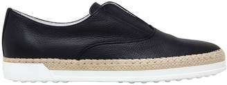 Tod's 10mm Raffia & Tumbled Leather Sneakers