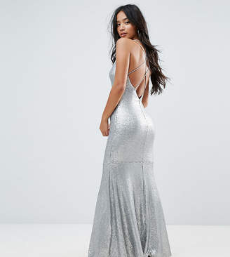 TFNC Petite Petite Allover Sequin Maxi Dress With Strappy Back
