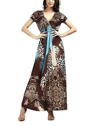 Honeystore Women's Leopard Print Summer Islad Maxi Beach Sundress Dress