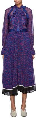 Self-Portrait Ruffle trim pleated graphic print chiffon dress