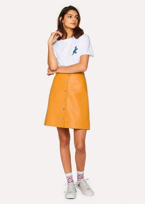 Paul Smith Women's Burnt Yellow Leather Button Down Mini Skirt