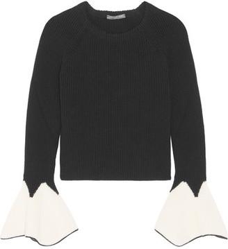 Alexander McQueen - Tulip-cuff Wool Sweater - Black $1,125 thestylecure.com