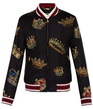 Dolce & Gabbana Crown Print Silk Bomber Jacket - Mens - Black Multi