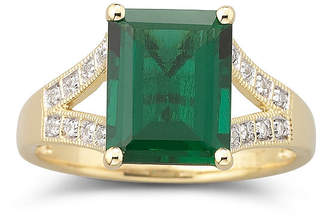 JCPenney FINE JEWELRY 14K Gold-Plated Lab Created Emerald & White Sapphire Ring