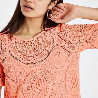 River Island Coral loose fit lace T-shirt