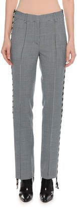 Off-White Off White Houndstooth Plaid Side Band Cigarette-Leg Pants