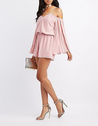 Pleated-Sleeves Cold Shoulder Romper $29.99 thestylecure.com