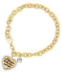 Forever New Gold Over Silver Diamond I Love You To The Moon And Back Bracelet 7.25 Inch