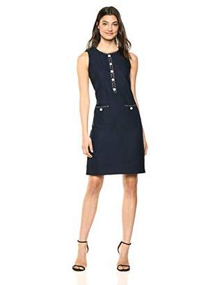 Karl Lagerfeld Paris Women's TWEED DRESS WITH PEARL AND CHAIN DETAIL