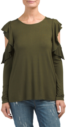 Made In USA Ruffled Cold Shoulder Top $16.99 thestylecure.com