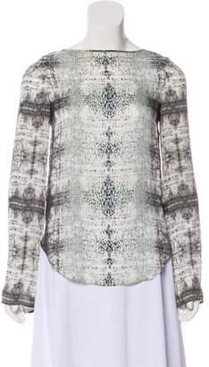 Theyskens' Theory Silk Printed Long Sleeve Top