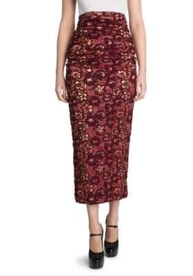 Miu Miu Jacquard Ruched Midi Skirt