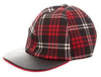 MonnaLisa Girls' Plaid Faux Leather-Trimmed Baseball Cap