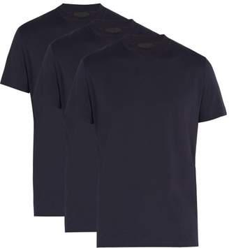 Prada Set Of Three Cotton Jersey T Shirts - Mens - Navy