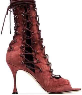 Liudmila burgundy Drury Lane 100 lace up open toe suede sandals