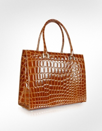 Giorgio Fedon 1919 Spiga Wib - Brown Croco Stamped Calfskin Business Bag